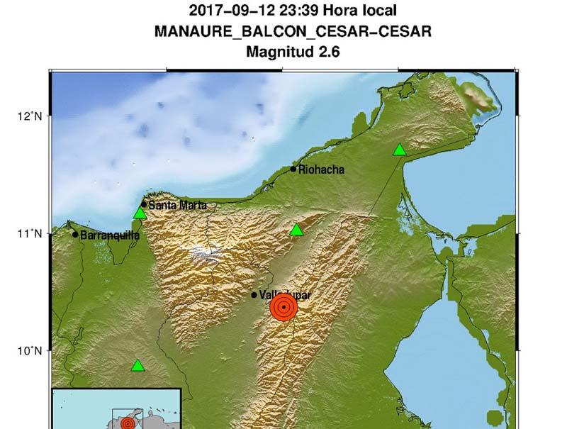 En menos de 24 horas se presentaron dos sismos en el Cesar